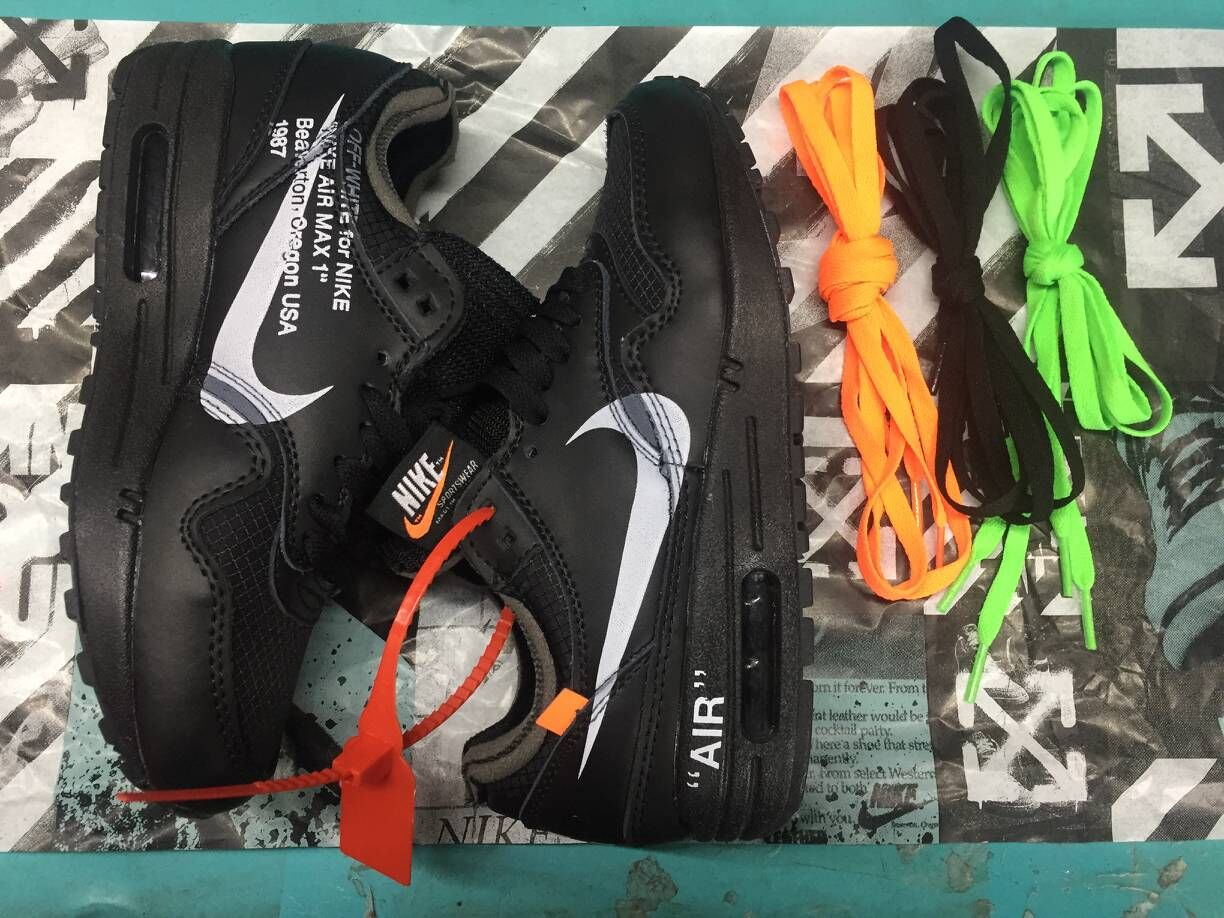 Wholesale Off-White x Nike Air Max 87 1 All Black White