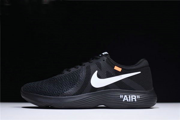 Cheap Wholesale Off-White x Nike Revolution 4 Black WMNS Size Running Shoes 908988-011