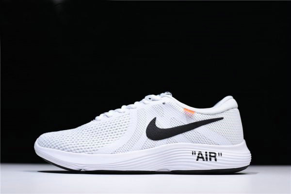Cheap Wholesale Off-White x Nike Revolution 4 White Running Shoes WMNS Size 908988-012 For Sale