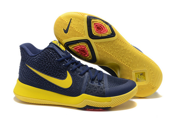 5fa39f9354e Official Nike Kyrie 3 Yellow Navy Blue Black Red Basketball Shoes Cheap  Wholesale Sale