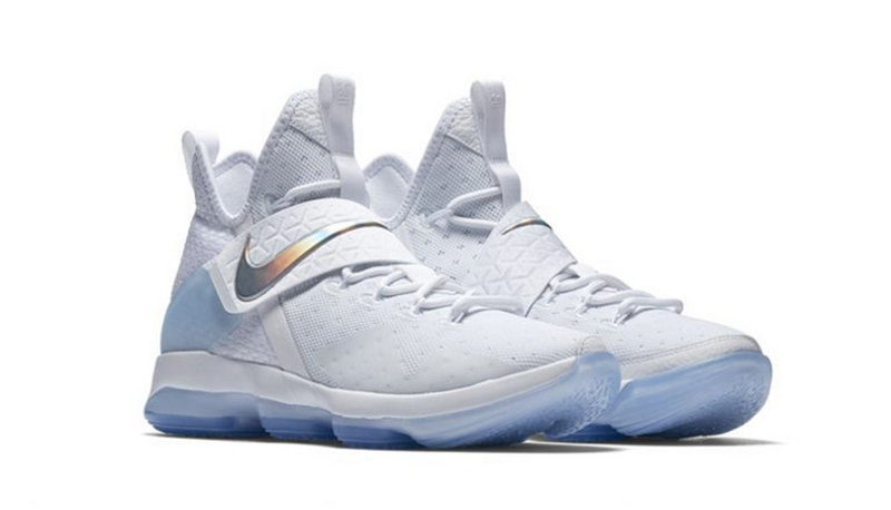 Official Nike Lebron 14 White Silver Basketball Shoes Cheap Wholesale Sale