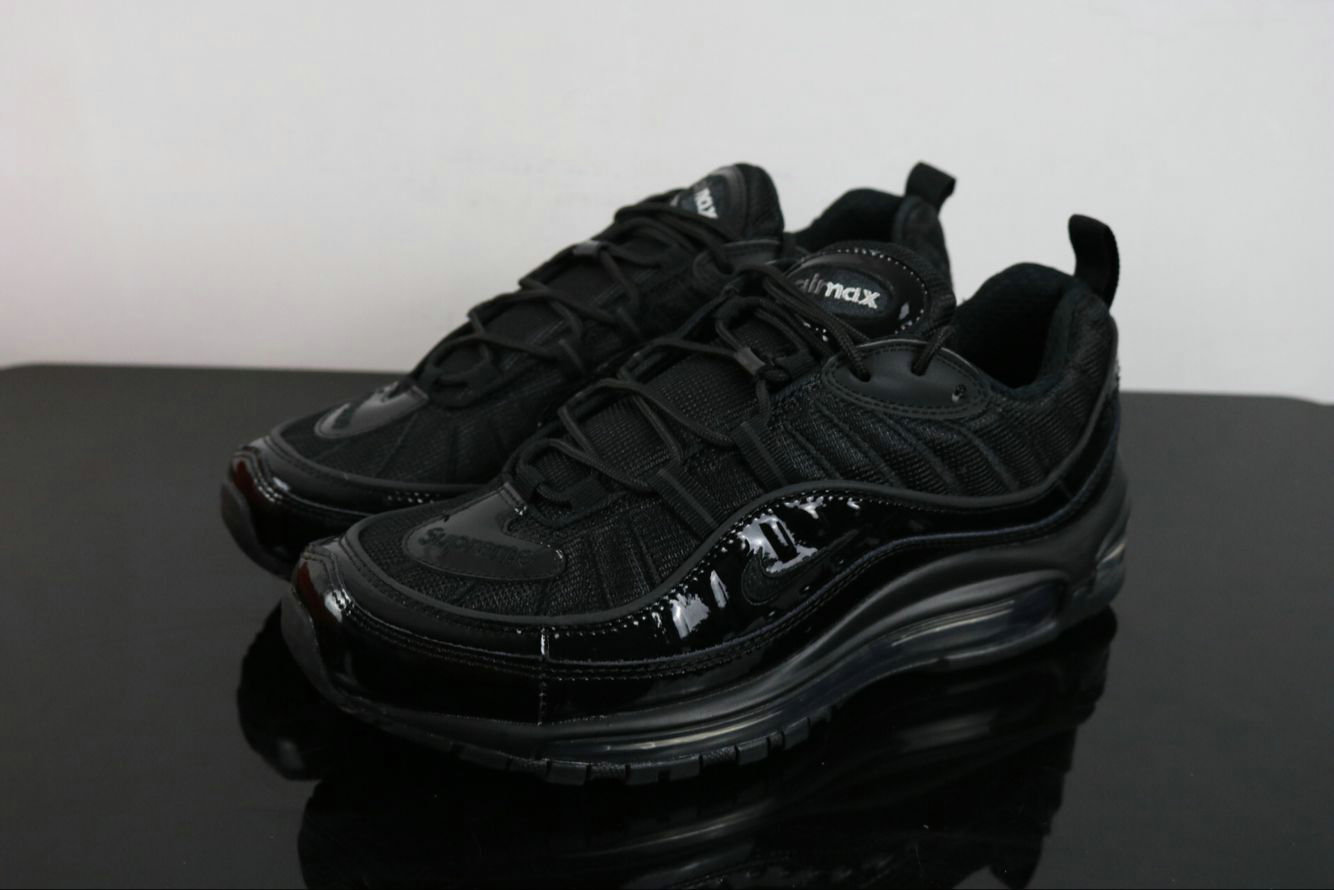 Wholesale Cheap Supreme X Nike Air Max 98 Black Release Details