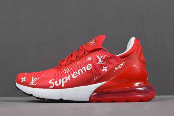 cc967e722df8 Cheap Wholesale Supreme x Nike Air Max 270 Red White Mens and Womens Size  Running Shoes