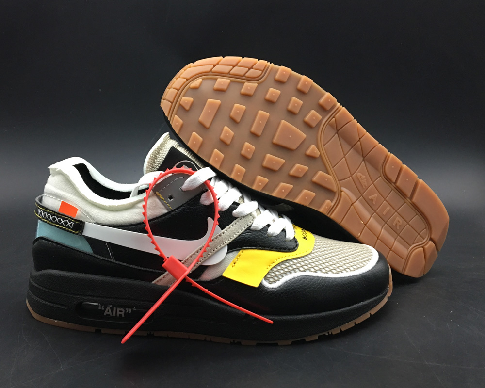 Wholesale Virgil Abloh x BespokeIND Create Off-White X Boys Nike Air Max 1s Black Leather