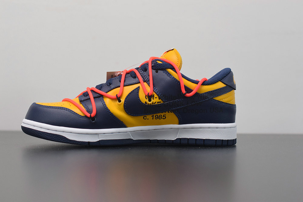 Where To Buy Wholesale 2019 Womens Cheap Nike Dunk Low LTHR OW Midnight Navy University Gold Marine Minut Universite OR CT0856-700