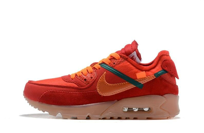 Where To Buy Wholesale 2019 Womens Cheap Off White X Nike Air Max 90 Red Orange OW AA7293-600