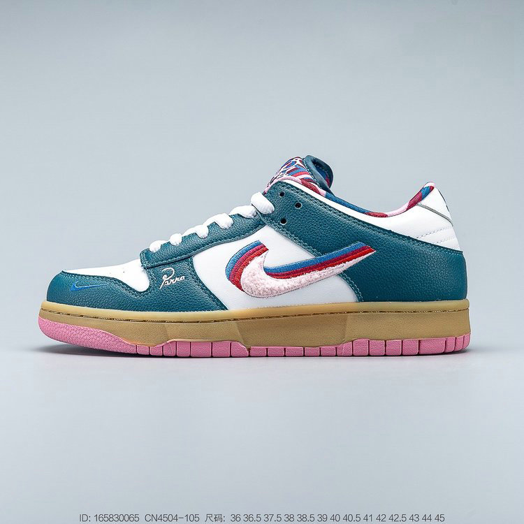 Where To Buy Wholesale 2019 Womens Cheap Parra x Nike SB Dunk Low White Dark Green-Red CN4504-105