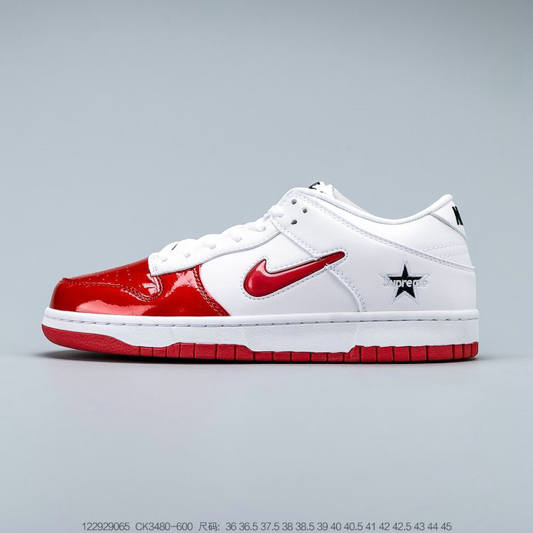 Where To Buy Wholesale 2019 Womens Cheap Supreme x Nike SB Dunk Low Red White CK3480-600