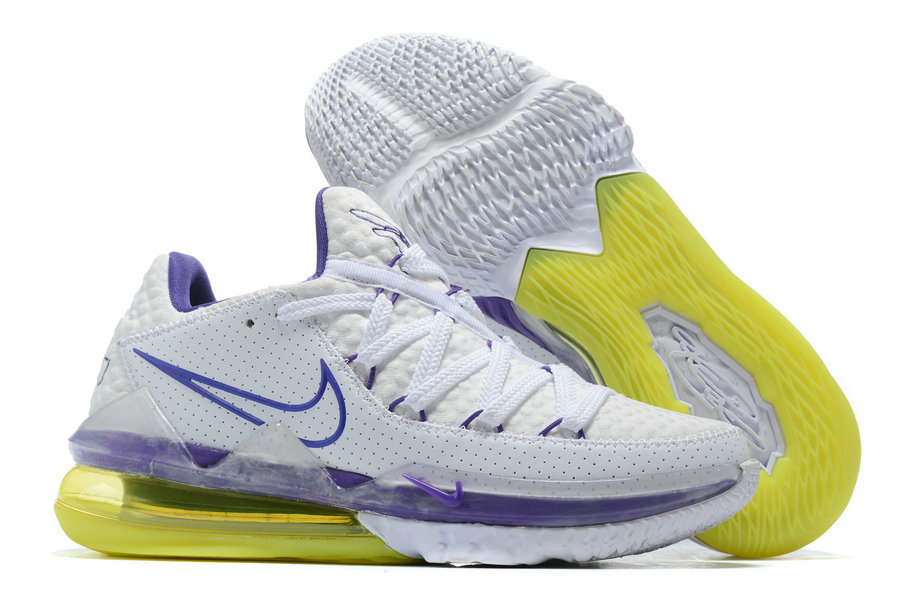 Where To Buy 2020 Wholesale Cheap Nike LeBron 17 Low Lakers Home White Voltage Purple-Dynamic Yellow CD5007-102