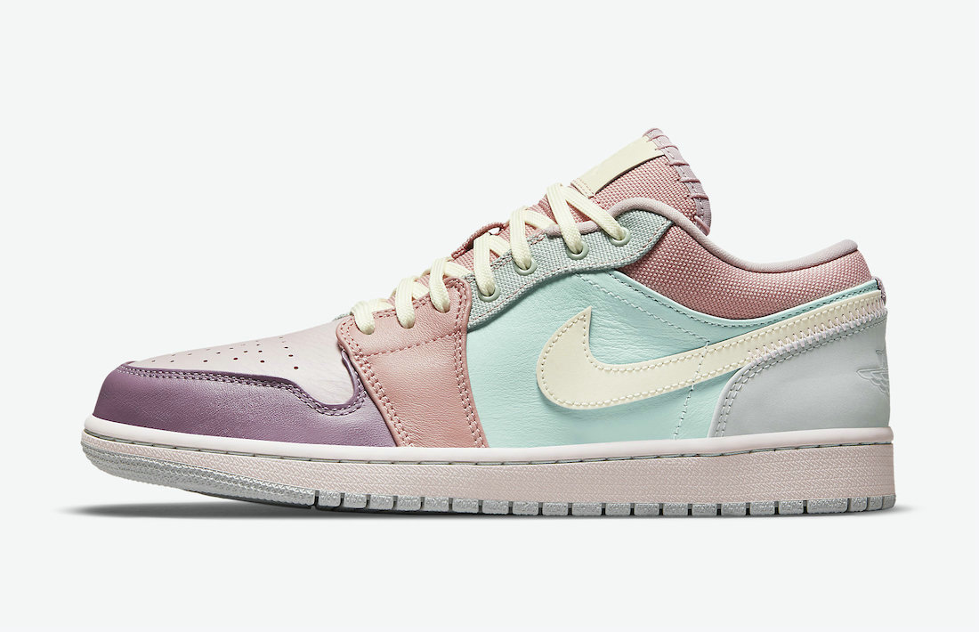 Where To Buy 2021 Cheapest Nike Air Jordan 1 Low Appears in Mismatched Multi-Material Make DJ5196-615