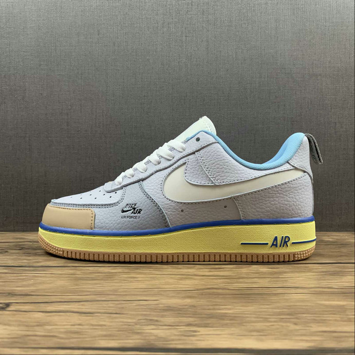 Where To Buy 2022 Wholesale Cheap Nike Air Force 1 Premium Blue Pot Cookies Yellow Brown Shoes CV3039-102