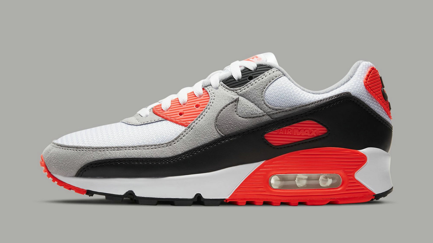Where To Buy 2022 Wholesale Cheap Womens Nike Air Max 3 Air Max 90 Infrared White Black-Cool Grey-Radiant Red CT1685-100