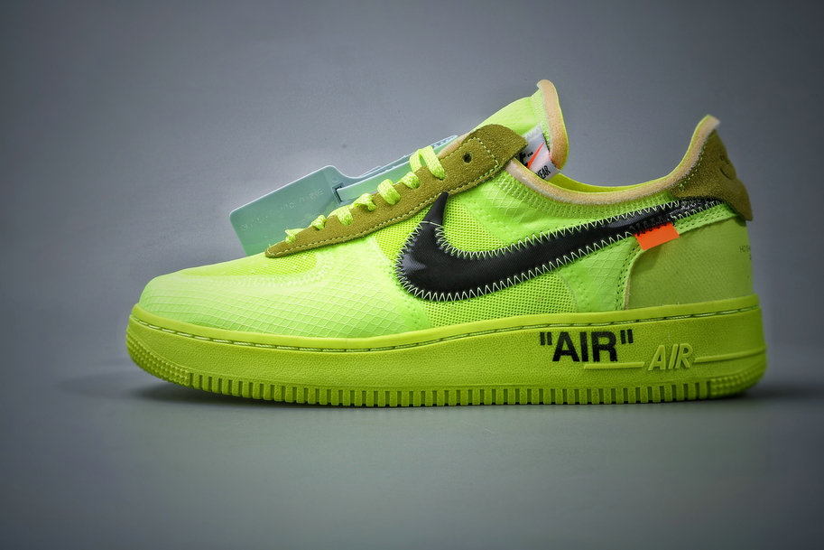 Where To Buy Cheap Nike Air Force 1 Low Off-White Volt Hyper Jade-Cone-Black AO4606-700