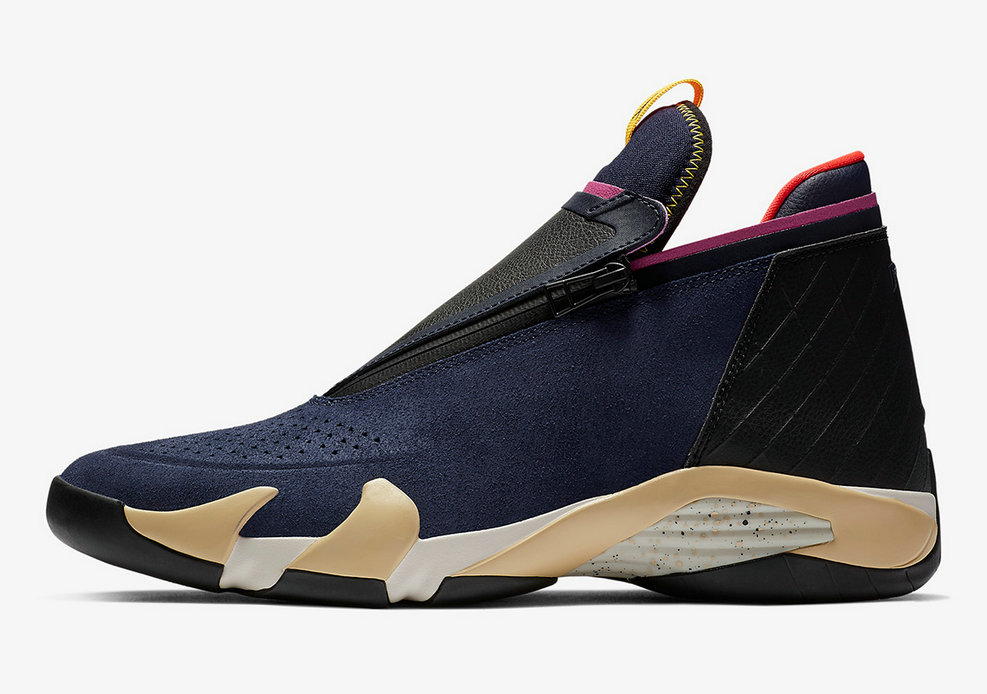 Where To Buy Cheap Nike Air Jordan 14 Jumpman Zipper Gold Navy Blue Black Pink