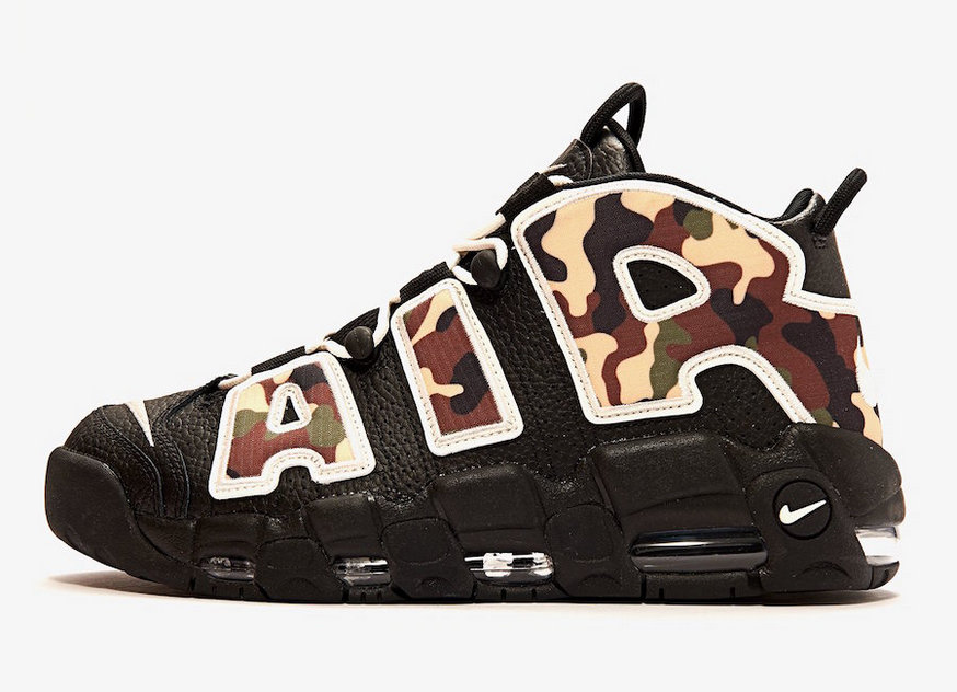 Where To Buy Cheap Nike Air More Uptempo QS Black Camo Sail-Light British Tan CJ6122-001