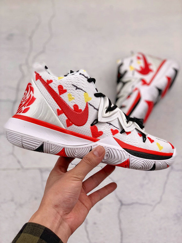 Where To Buy Cheap Nike Kyrie 5 EP White Red Black Blanc Rouge Noir AO2919-106