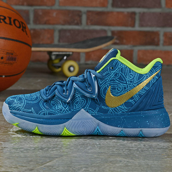 Where To Buy Cheap Nike Kyrie 5 Irving Lake Blue Metallic Gold Fluorescent Green