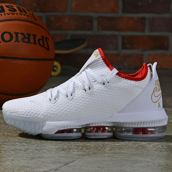 Where To Buy Cheap Nike LeBron 16 Low NBA Draft White Metallic Gold-University Red
