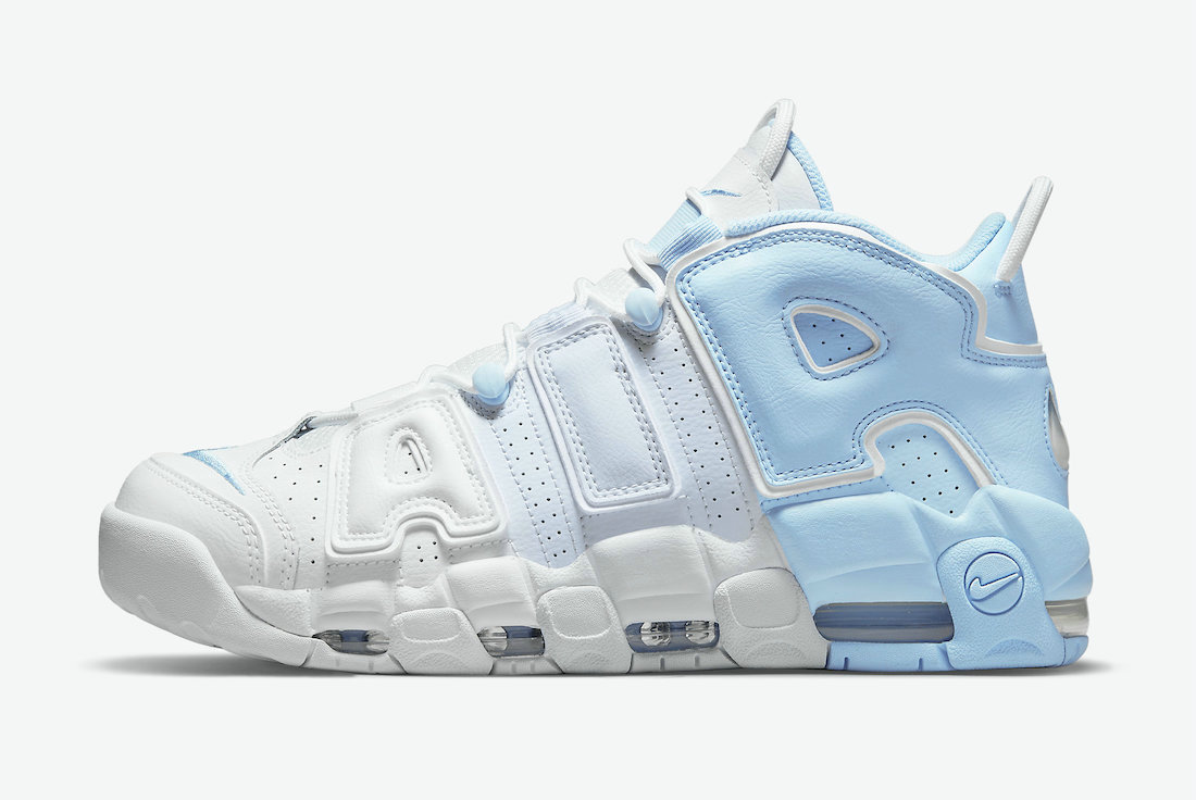 Where To Buy Womens 2021 Cheapest Nike Air More Uptempo Psychic Blue Football Grey-White-Multi-Color DJ5159-400