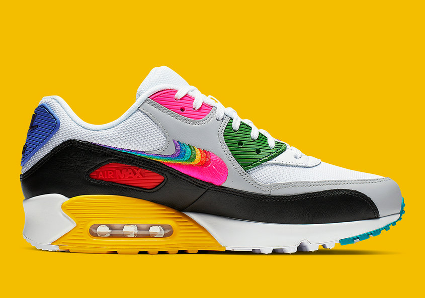 Where To Buy Womens Nike Air Max 90 Be True White Multi Color Black Blanc Noir Couleur Multiple CJ5482-100