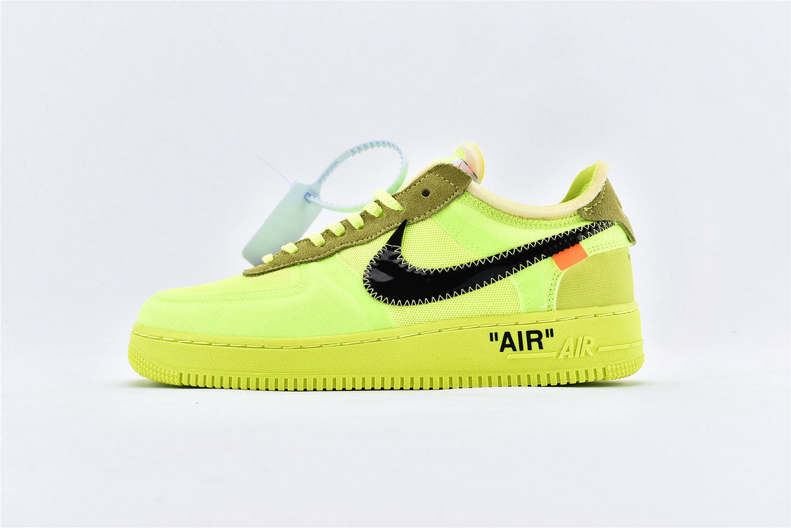Where To Buy Womens Off-White x Nike Air Force 1 Low Volt Black-Volt-Cone AO4606-700