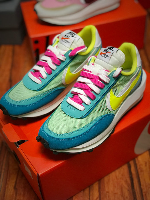 Where To Buy Womens Sacai x Nike LVD Waffle Daybreak Pink Blue Yellow White