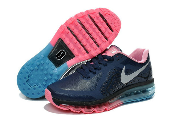Women Air Maxs 2014 Leather Black Blue Pink