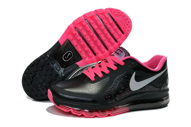 Women Air Maxs 2014 Leather Black Grey Pink