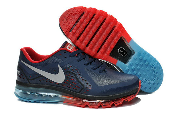 Women Air Maxs 2014 Leather Red Blue Grey