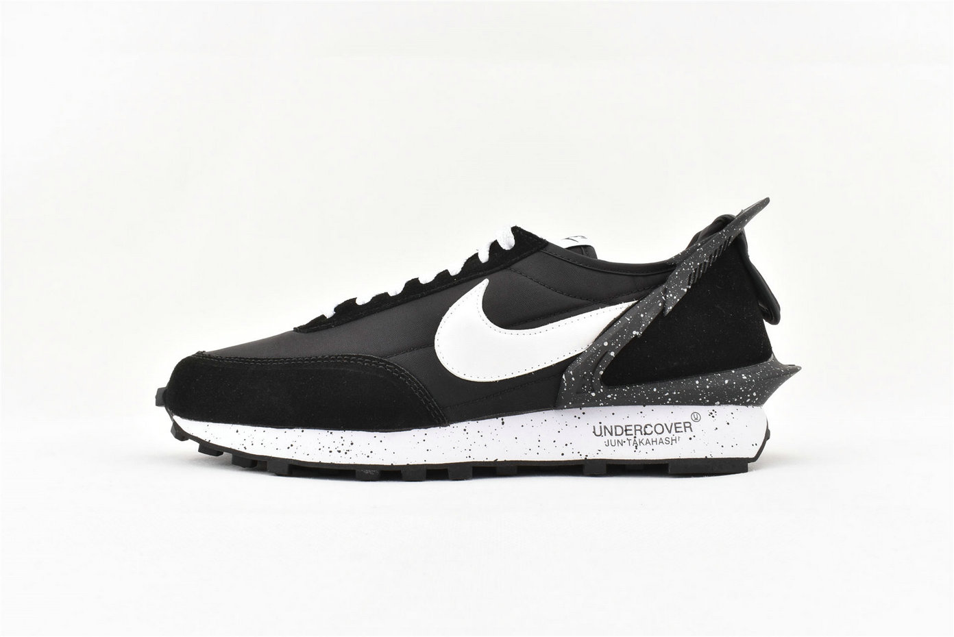 Wholesale Cheap Womens 2019 Cheap Sacai x Nike Waffle Racer Special Shaped Black White Splash Ink AA6853 001