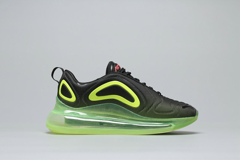 Wholesale Womens Cheap Nike Air Max 720 Black Fluorescent Green Noir Fluorescent Vert A02924-008