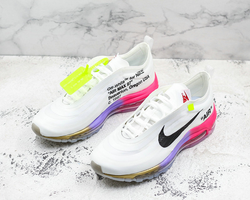 Wholesale Womens Cheap Nike OFF WHITE x Nike Air Max 97 Mens Running Shoes White Pink Black Gold