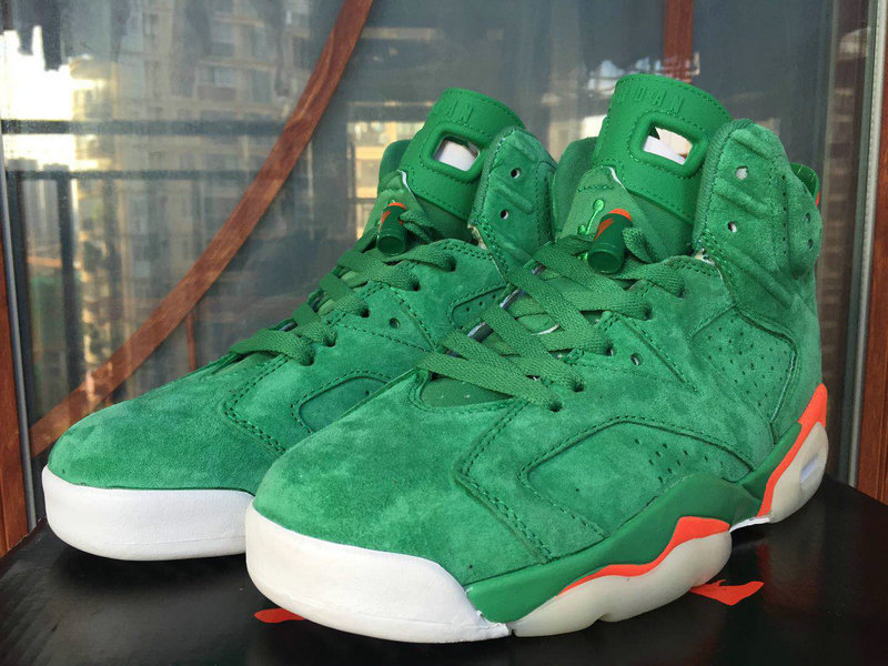 Womens Jordan Sneakers Cheap Wholesale Nike Air Jordan 6 Orange Grass Green White