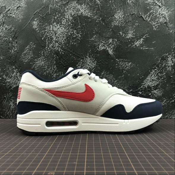 Wholesale Womens Nike Air Max 1 875844-006 WHT VRSTY RED MN NAVY LTZENGY BLA RPRO NAVY GRICLA