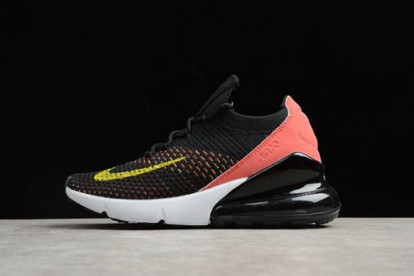 Cheap Wholesale Womens Nike Air Max 270 Flyknit Black Red White-Yellow AH6803-003