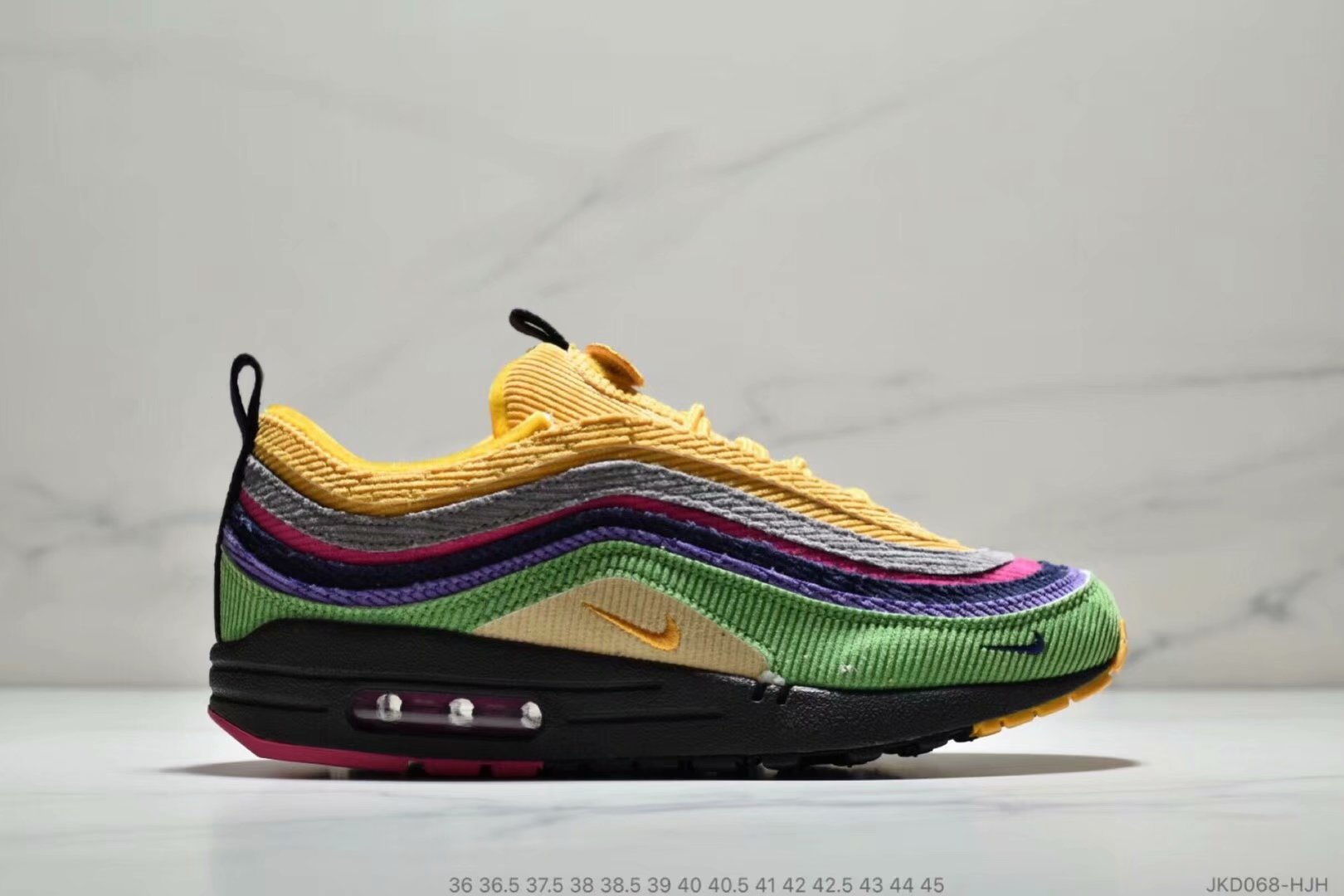 Wholesale Womens Nike Air Max 87 1 Sean Wotherspoon Grass Green Yellow Grey Purple Black