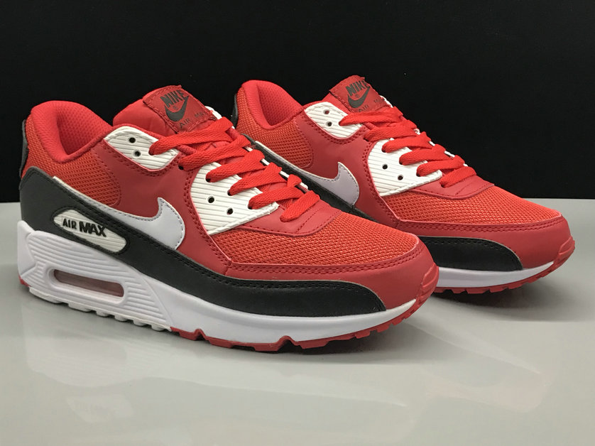 Wholesale Womens Nike Air Max 90 Classic Fire Red Black White