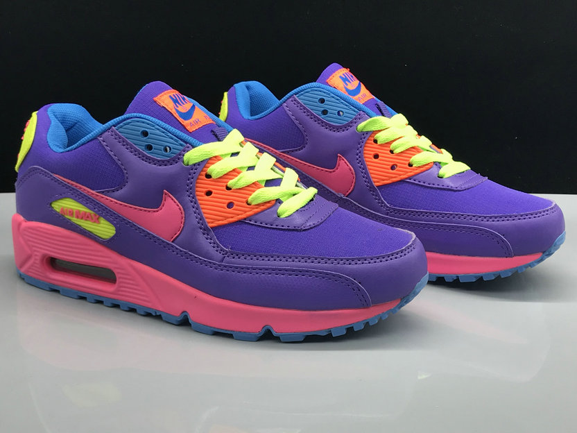 Wholesale Womens Nike Air Max 90 Classic Purple Pink Green Red