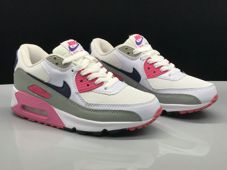 Wholesale Womens Nike Air Max 90s Classic White Grey Black Pink