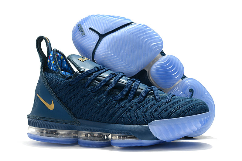 Wholesale Womens Nike Lebrons 16 Cheap Navy Blue Gold