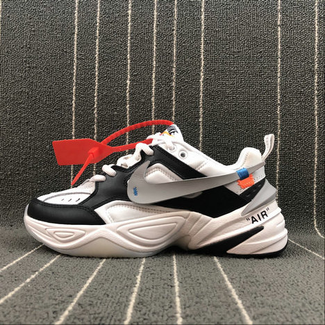 Wholesale Womens Nike M2K Tekno x Off White AO3108-062 Black White Grey Noir Blanc Gris
