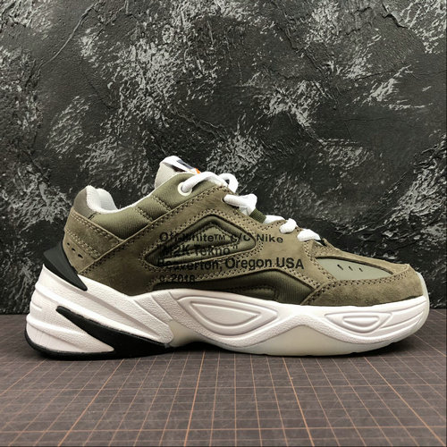Cheap Wholesale Womens Nike M2K Tekno x Off White AO3108-580 Phantom Oil Grey Matte Silver Fantome Gris Petrole