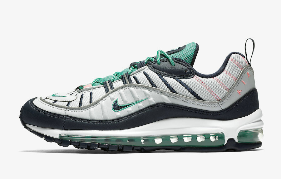 Wholesale Cheap Womens Nikes Air Max 98 South Beach 640744-005 Pure Platinum Obsidian-Kinetic Green