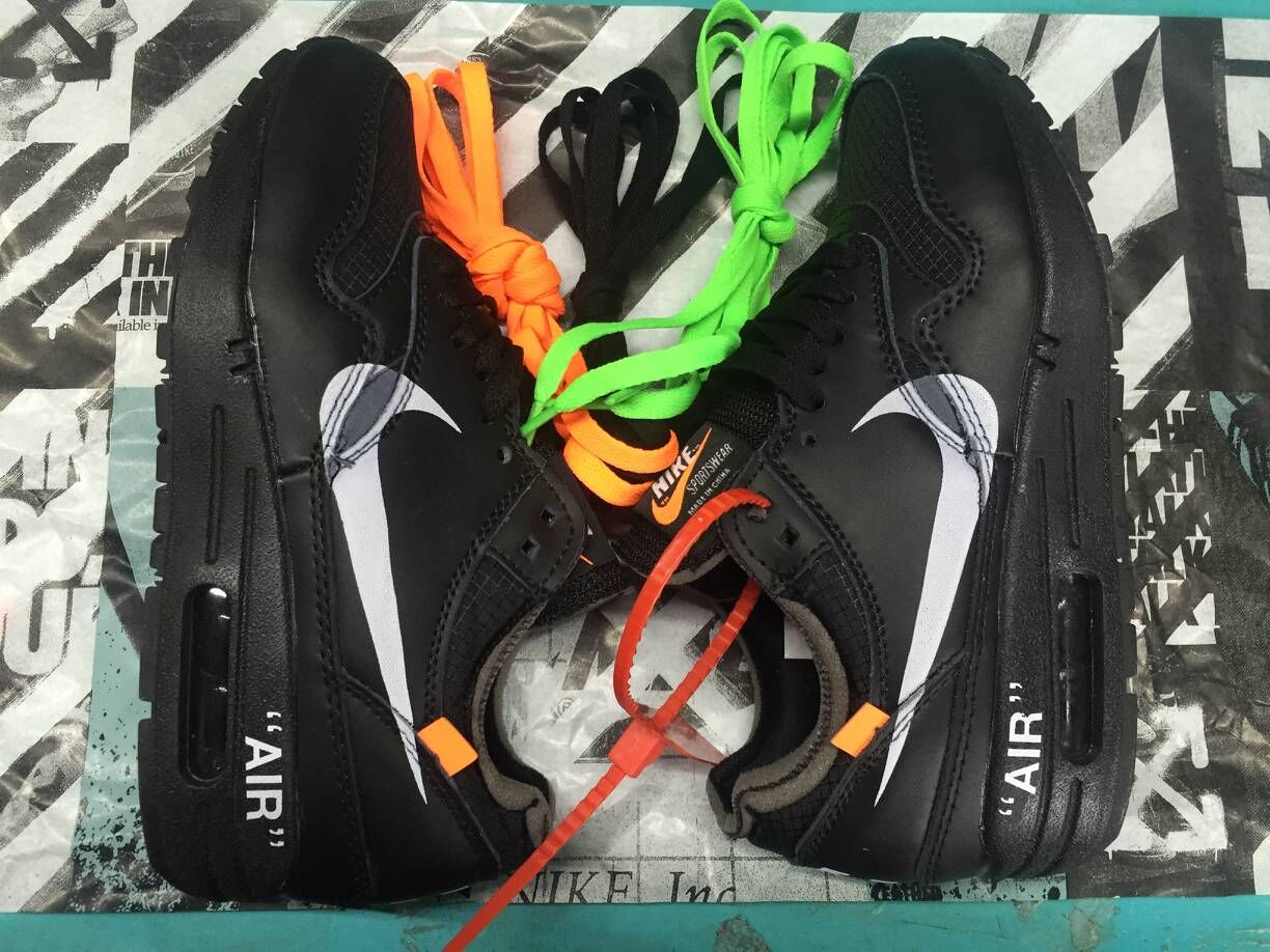 Wholesale Womens Off-White x Nike Air Max 87 1 All Black White