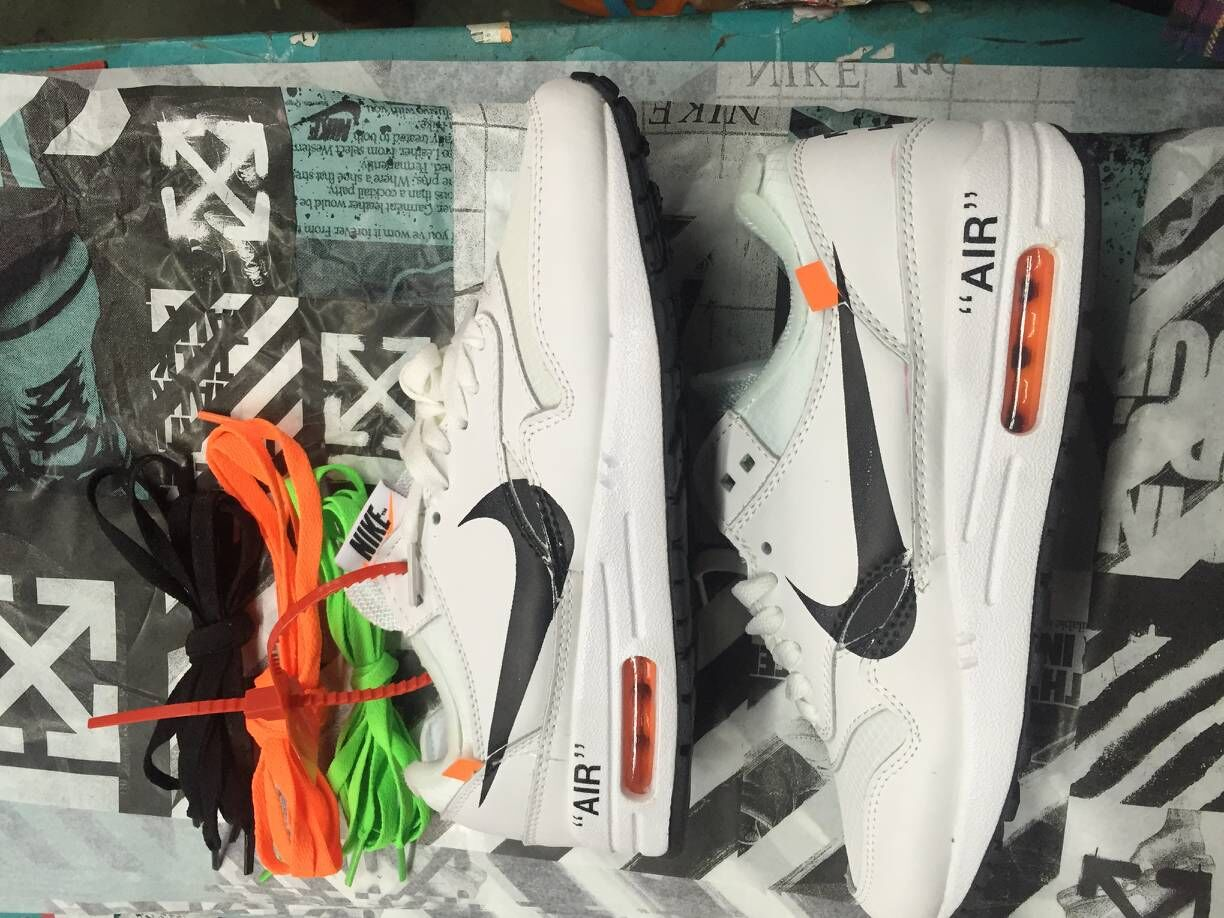 Wholesale Womens Off-White x Nike Air Max 87 1 White Black Team Orange