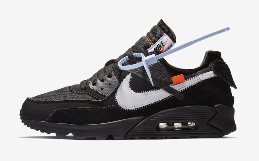 Wholesale Womens Off-White x Nike Air Max 90 Black-Cone-White-Black AA7293-001