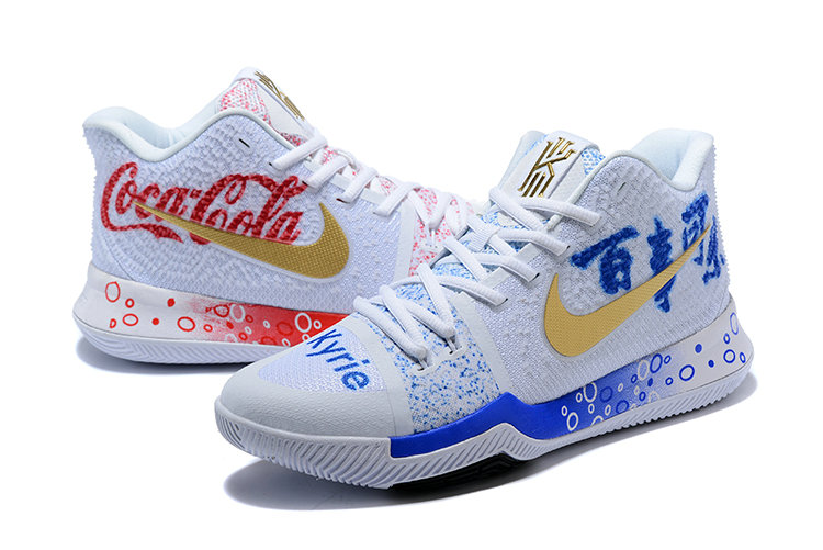 3d800a514296 ... 2018 Nike Kyrie Irvings 3 III Red White Gold Black Cheap Wholesale Sale  ...