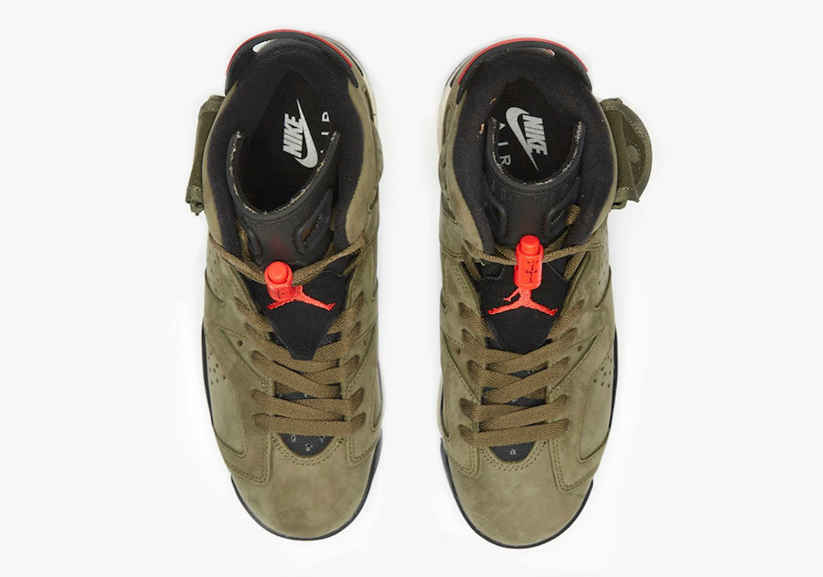 2019 Where To Buy Wholesale Cheap Nike Air Jordan 6 x Travis Scott Medium Olive Black-Sail-University Red CQ3565-200