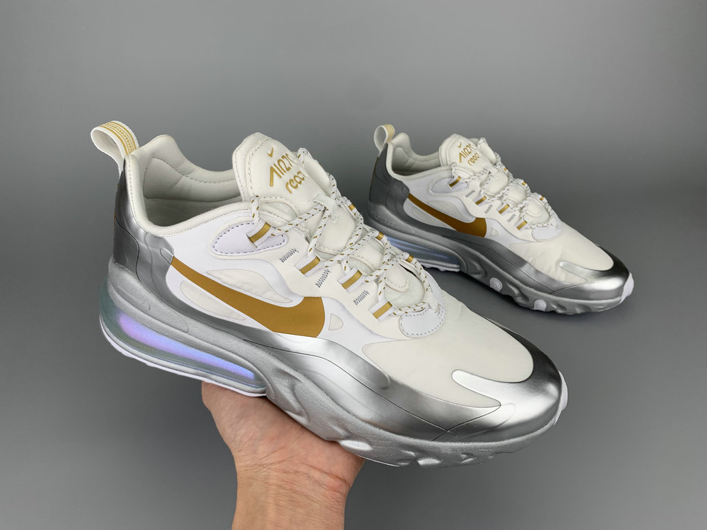2020 Wholesale Cheap Nike Air Max 270 React City Of Speed White Silver Gold CQ4597-110