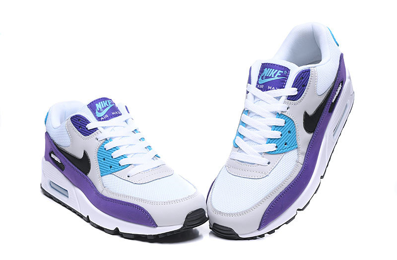 2020 Wholesale Cheap Nike Air Max 90 Essential White Black-Hyper Jade-Purple AJ1285-103
